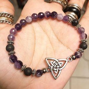 Diamond cut amethyst celtic triquetra bracelet